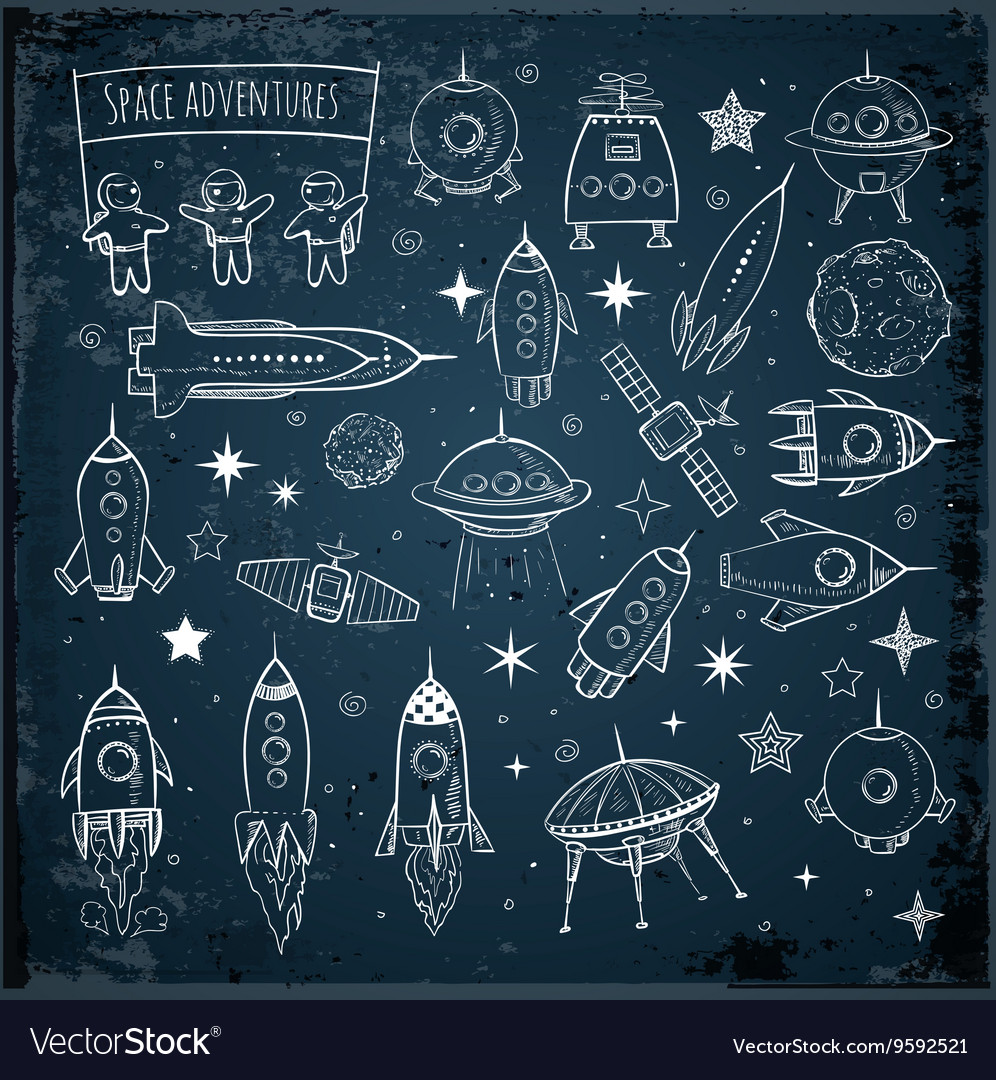 Collection of sketchy space objects vector