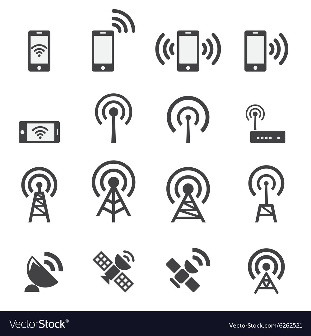 Mobile devices and wireless icon set vector