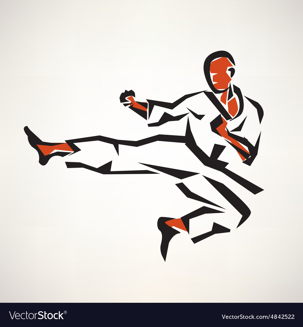 Karate fighter stylized symbol outlined sketch vector