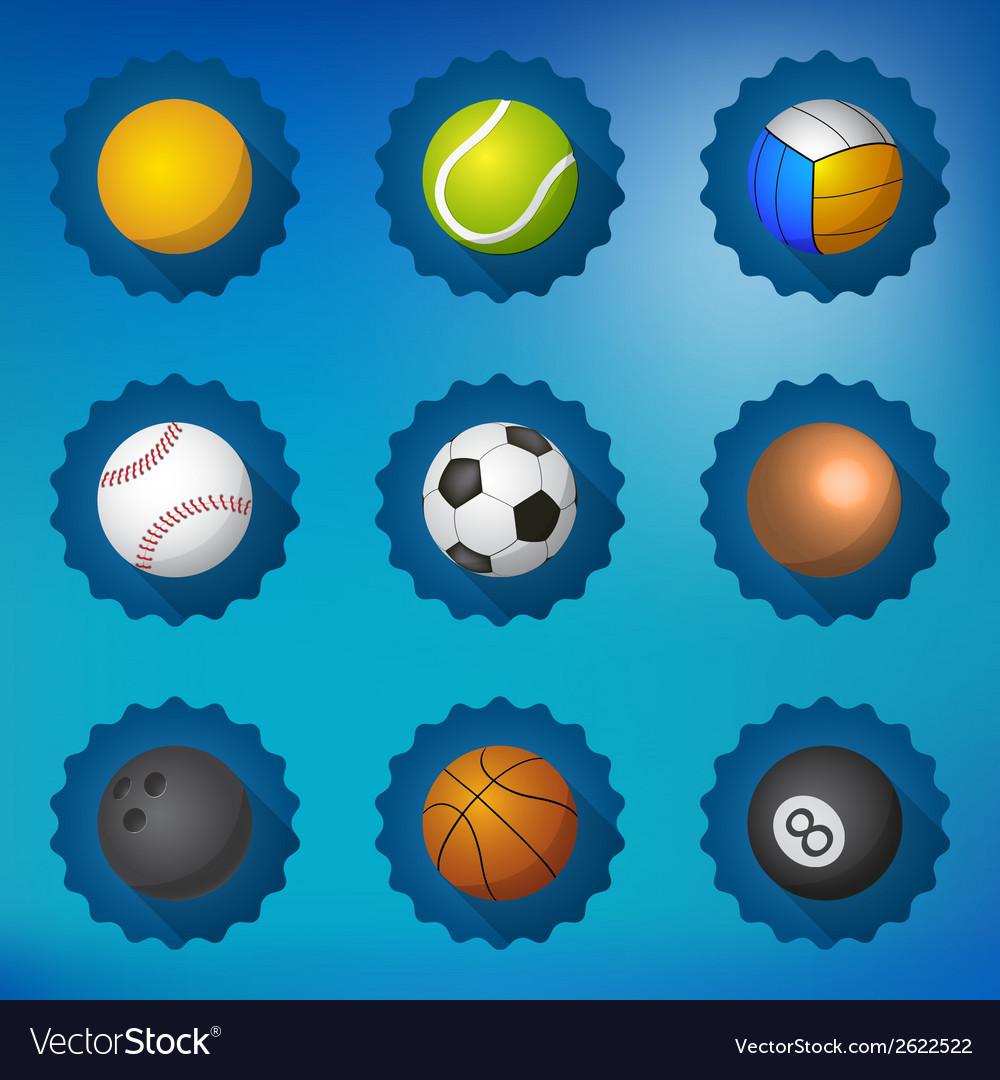 Sport balls football soccer voleyball etc flat vector