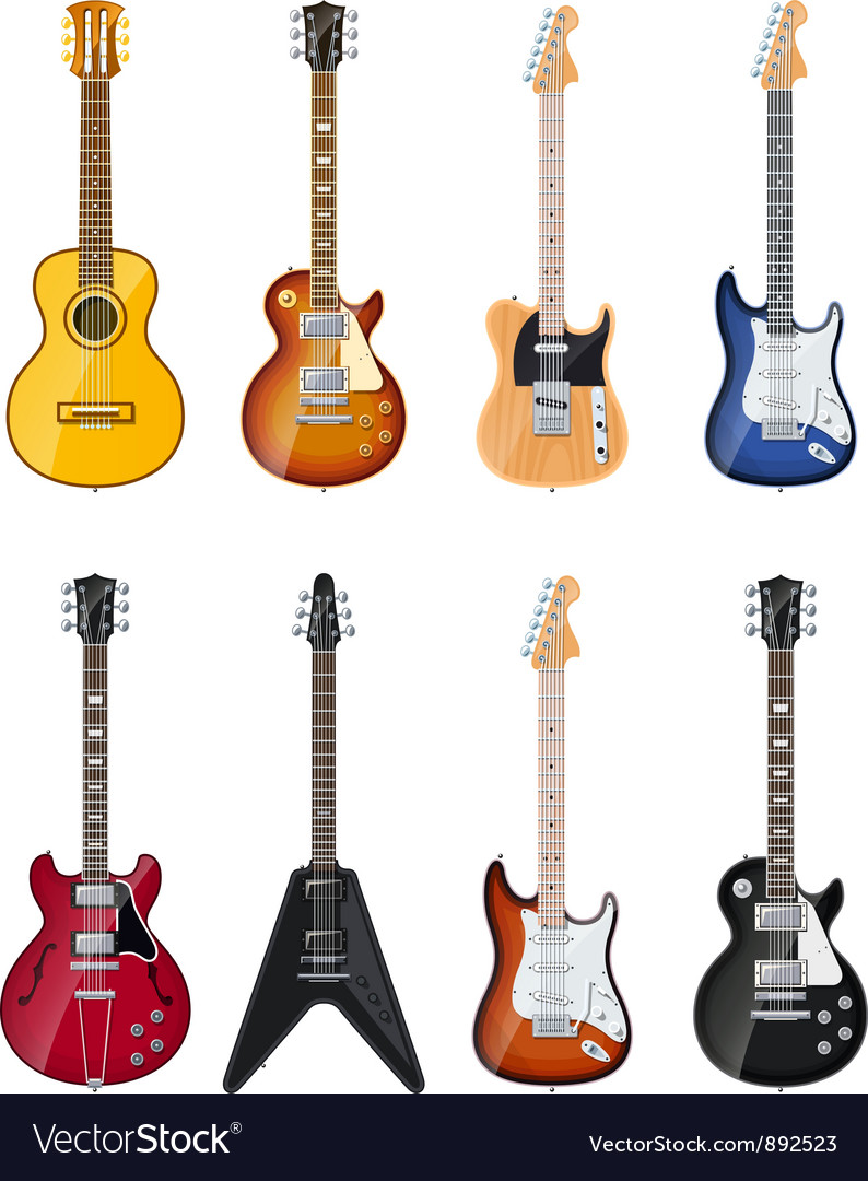 Acoustic and electric guitars vector