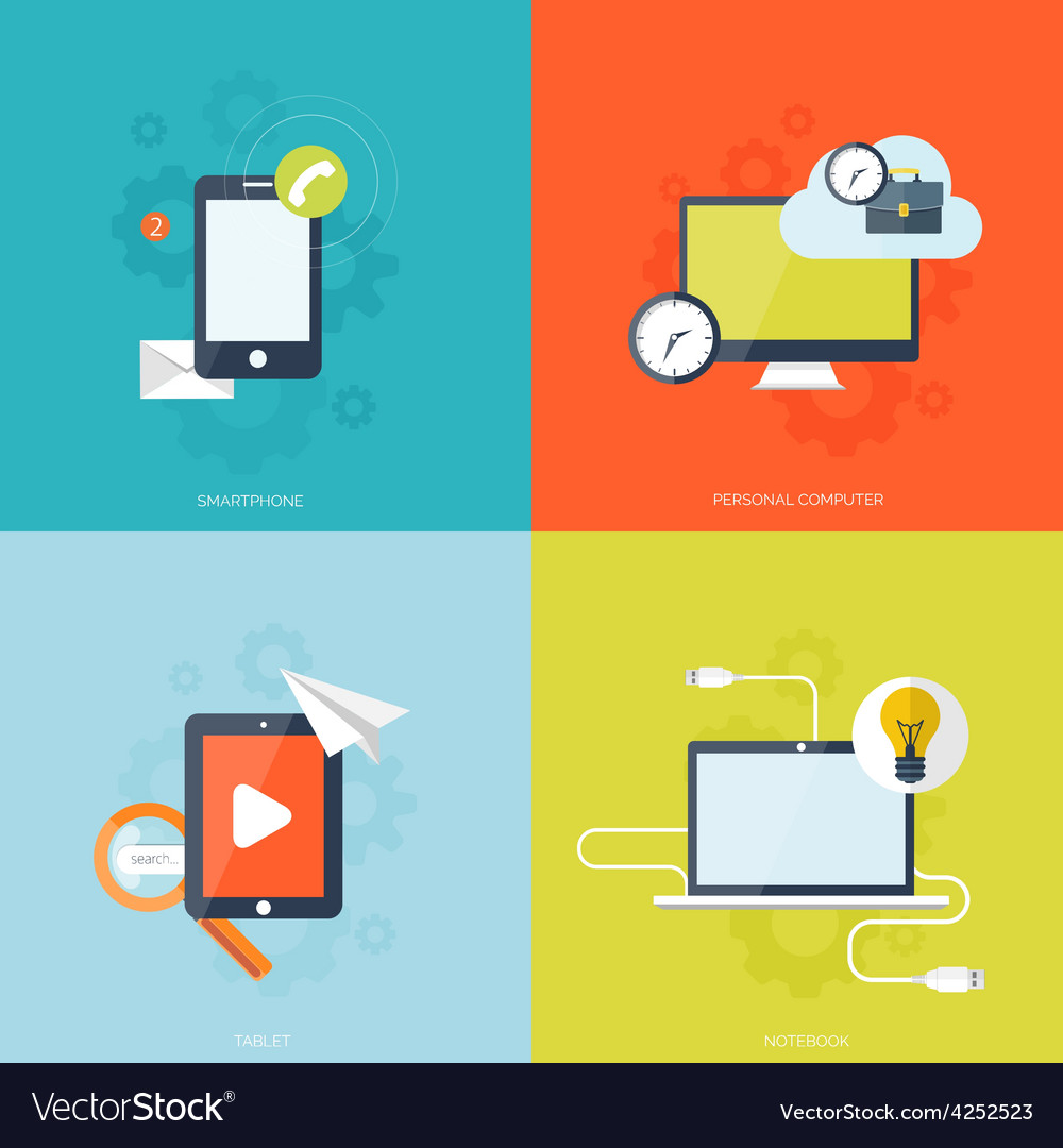 Flat mobile devices set computer laptop tablet vector