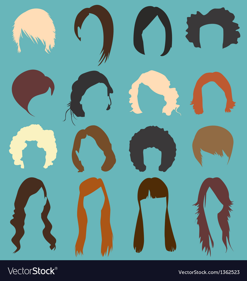 Retro womans hairstyle silhouettes vector
