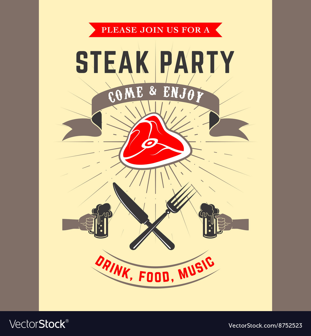 Steak party vector