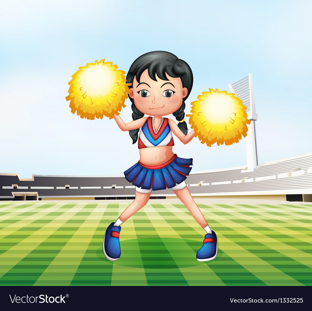 A cute cheerdancer at the soccer field vector