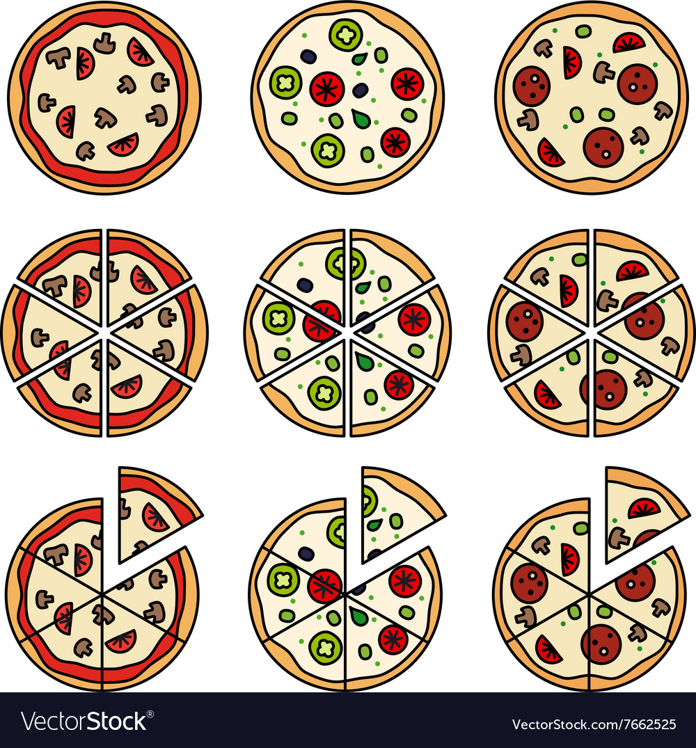 Pizza with pizza slices icons vector