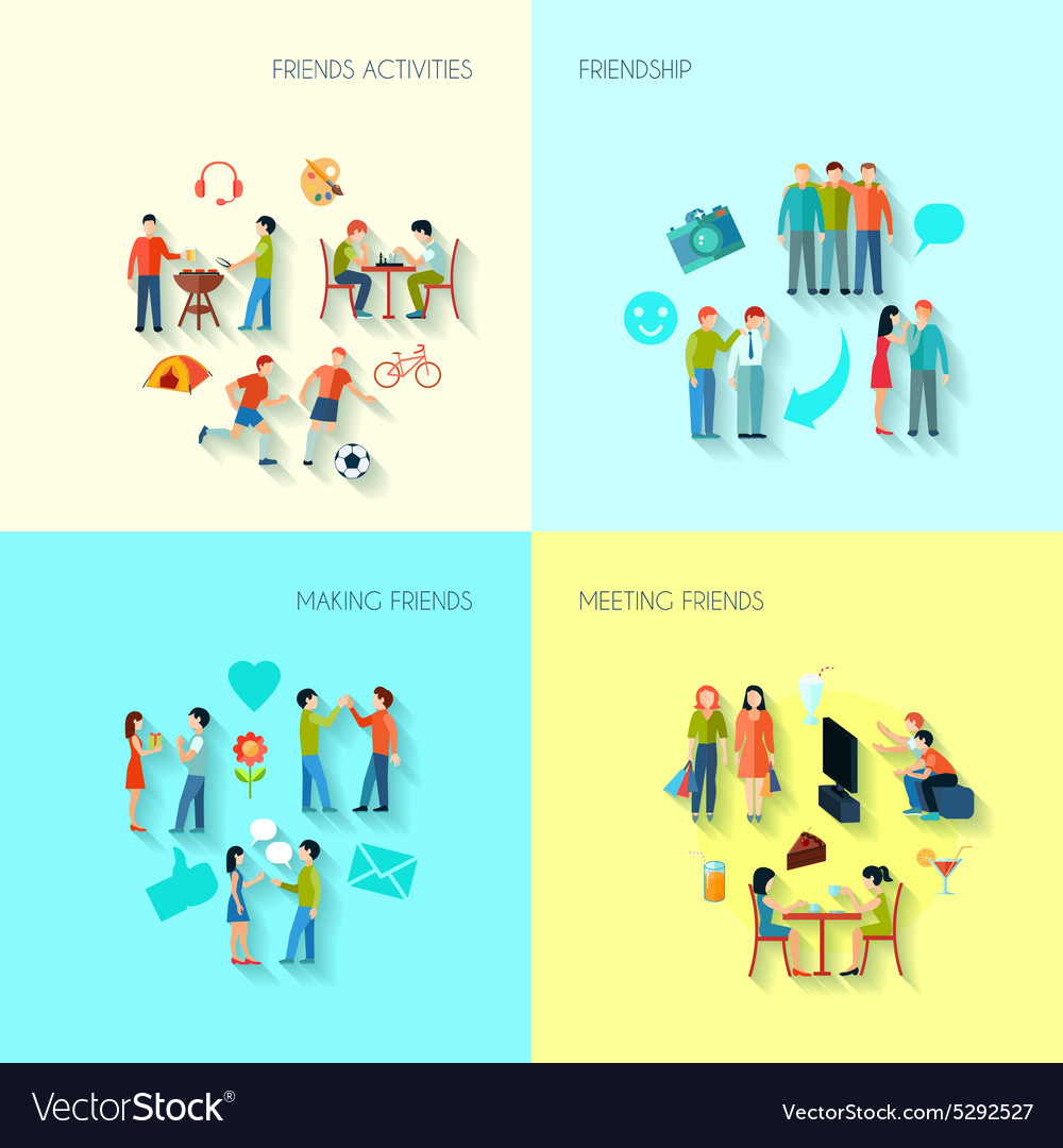 Friendship icons set vector