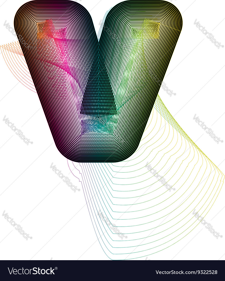 Abstract colorful letter v vector