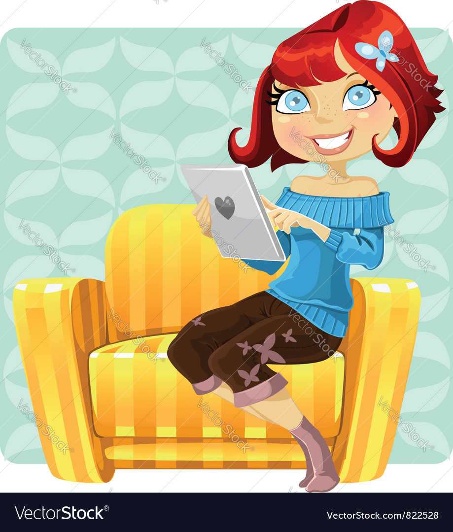 Cute redhaired girl vector