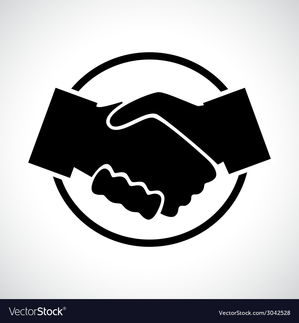 Handshake black flat icon in a circle vector