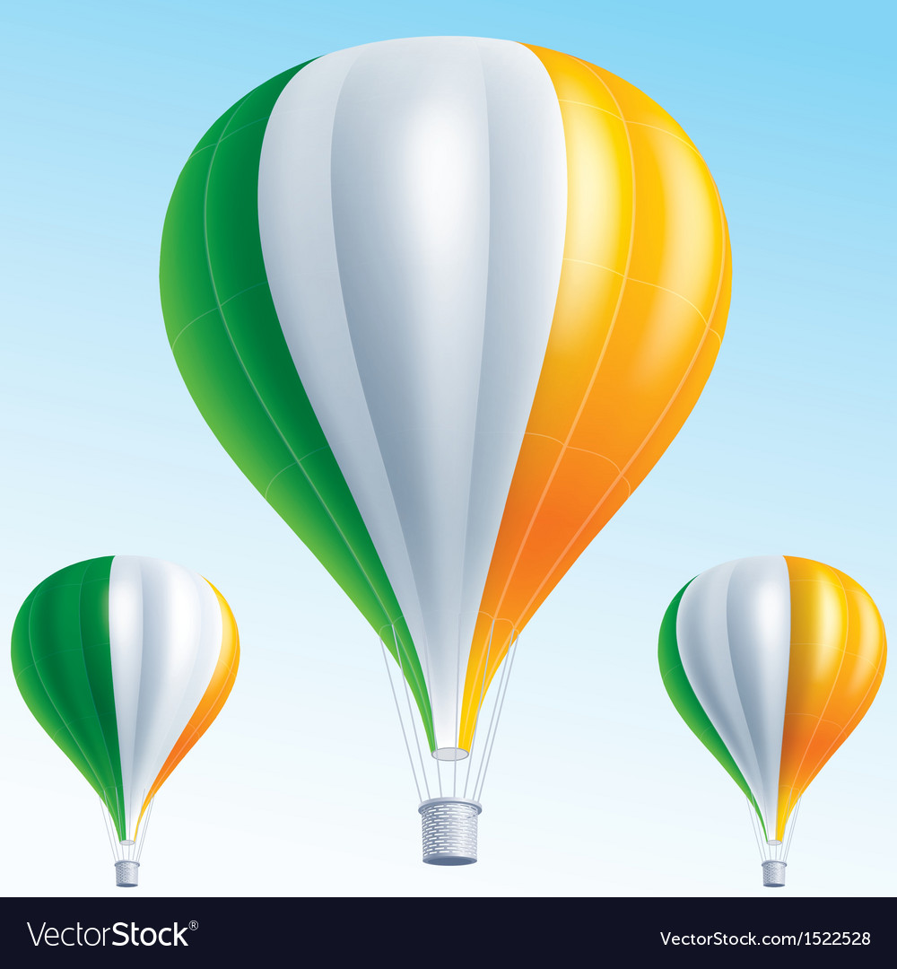 Hot balloons painted as irish flag vector