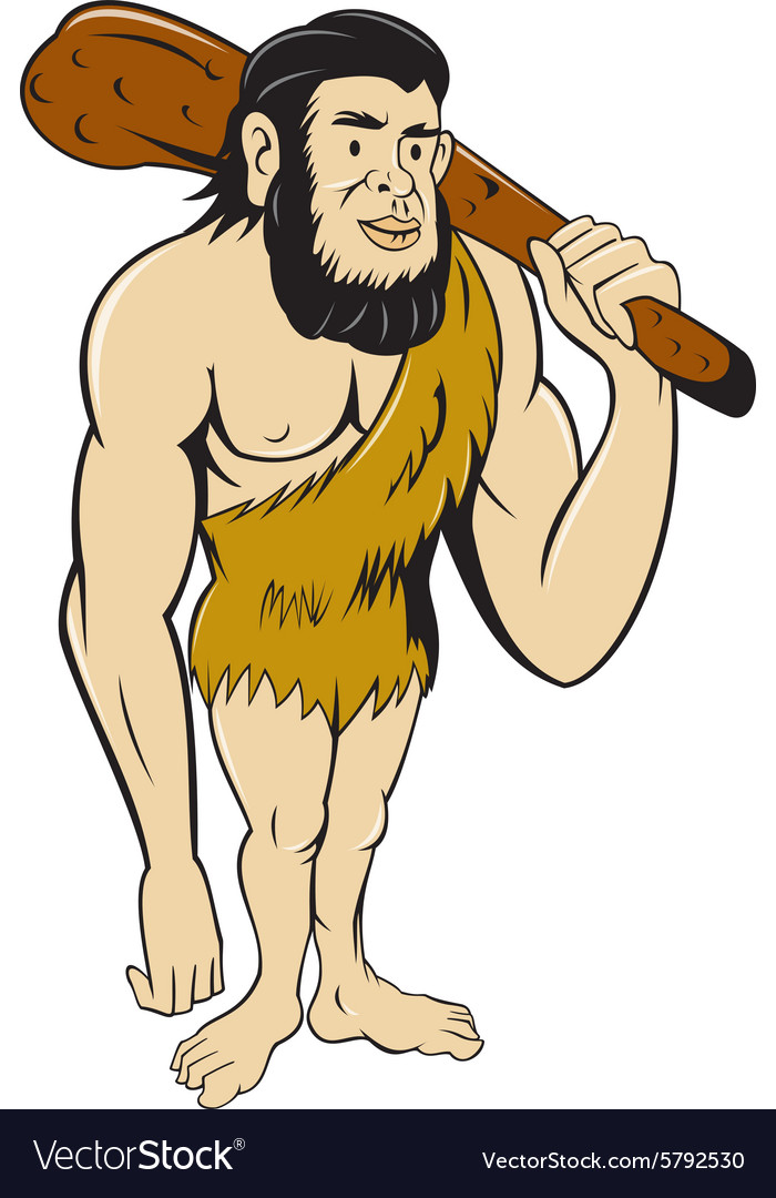 Caveman neanderthal man holding club cartoon vector