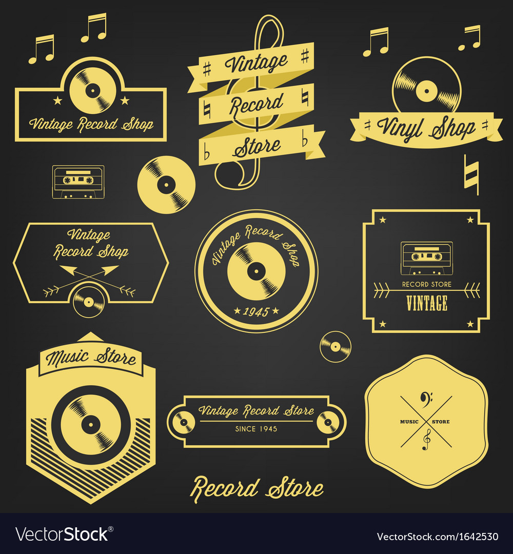 Vintage record shop vector