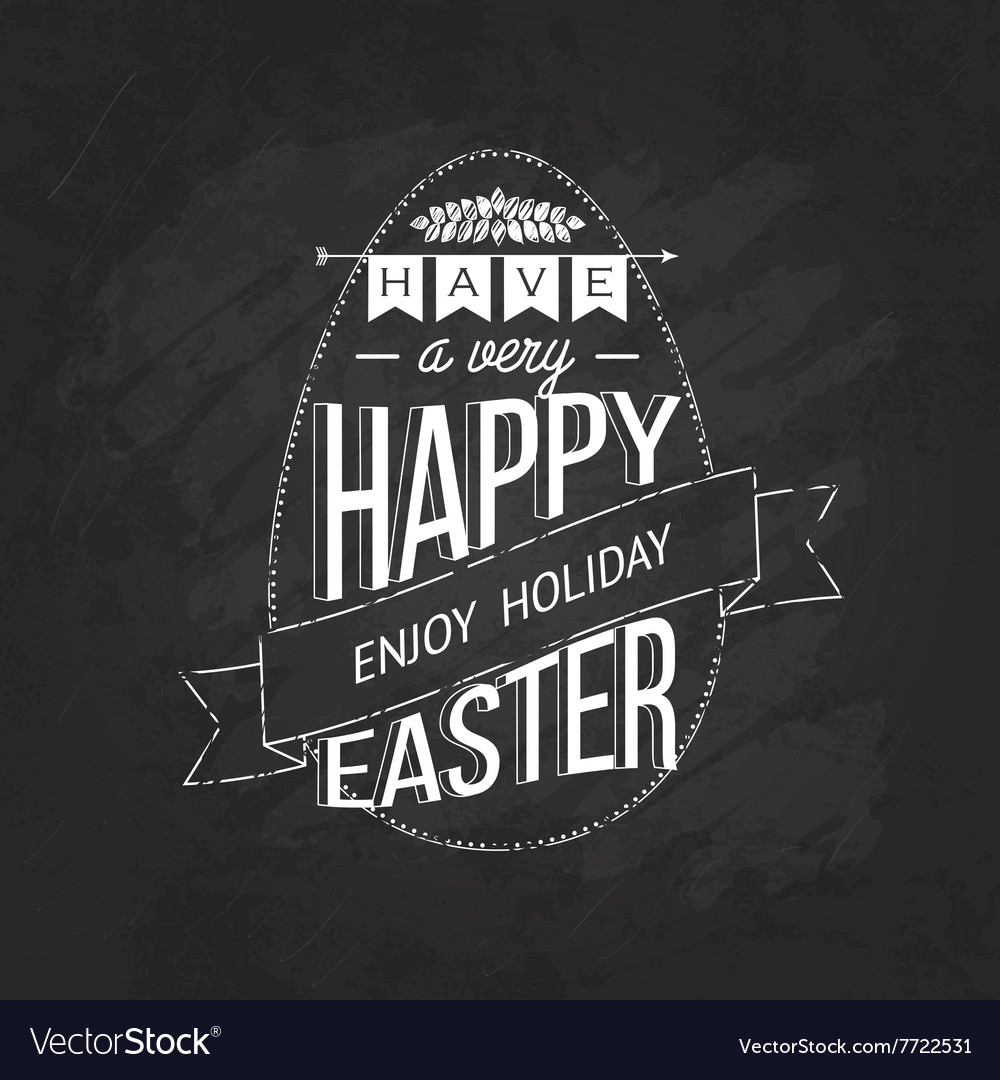 Big label easter on blackboard vector