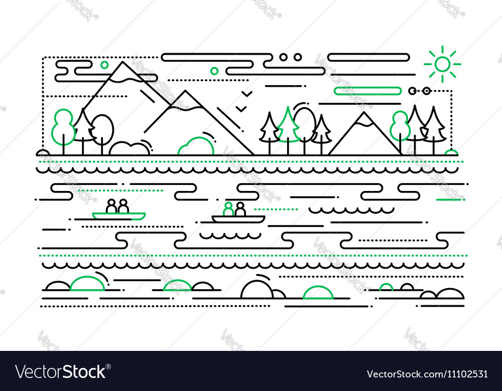 Water tourism  line flat design vector
