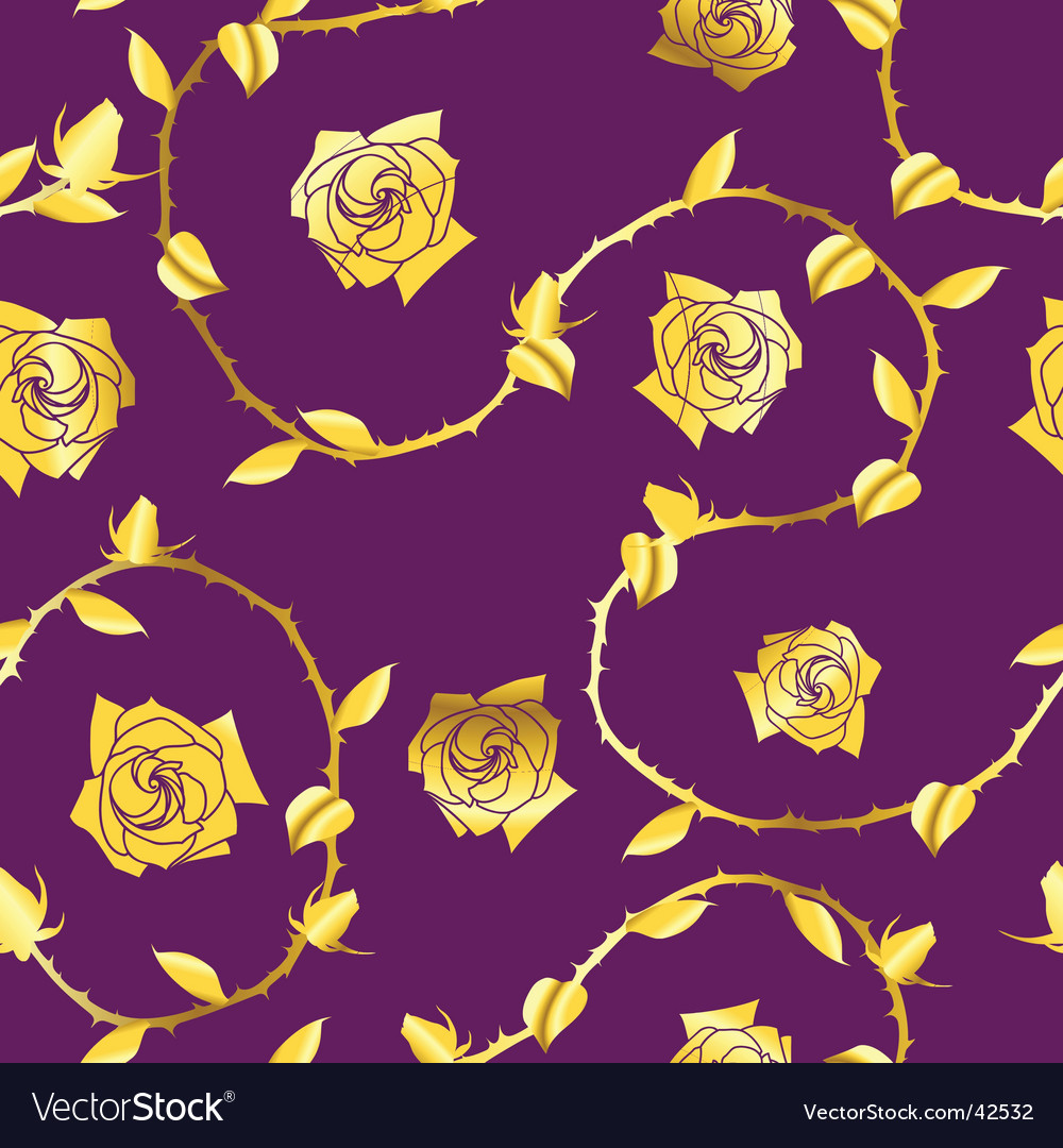 Goldpurple seamless rose sari pattern vector
