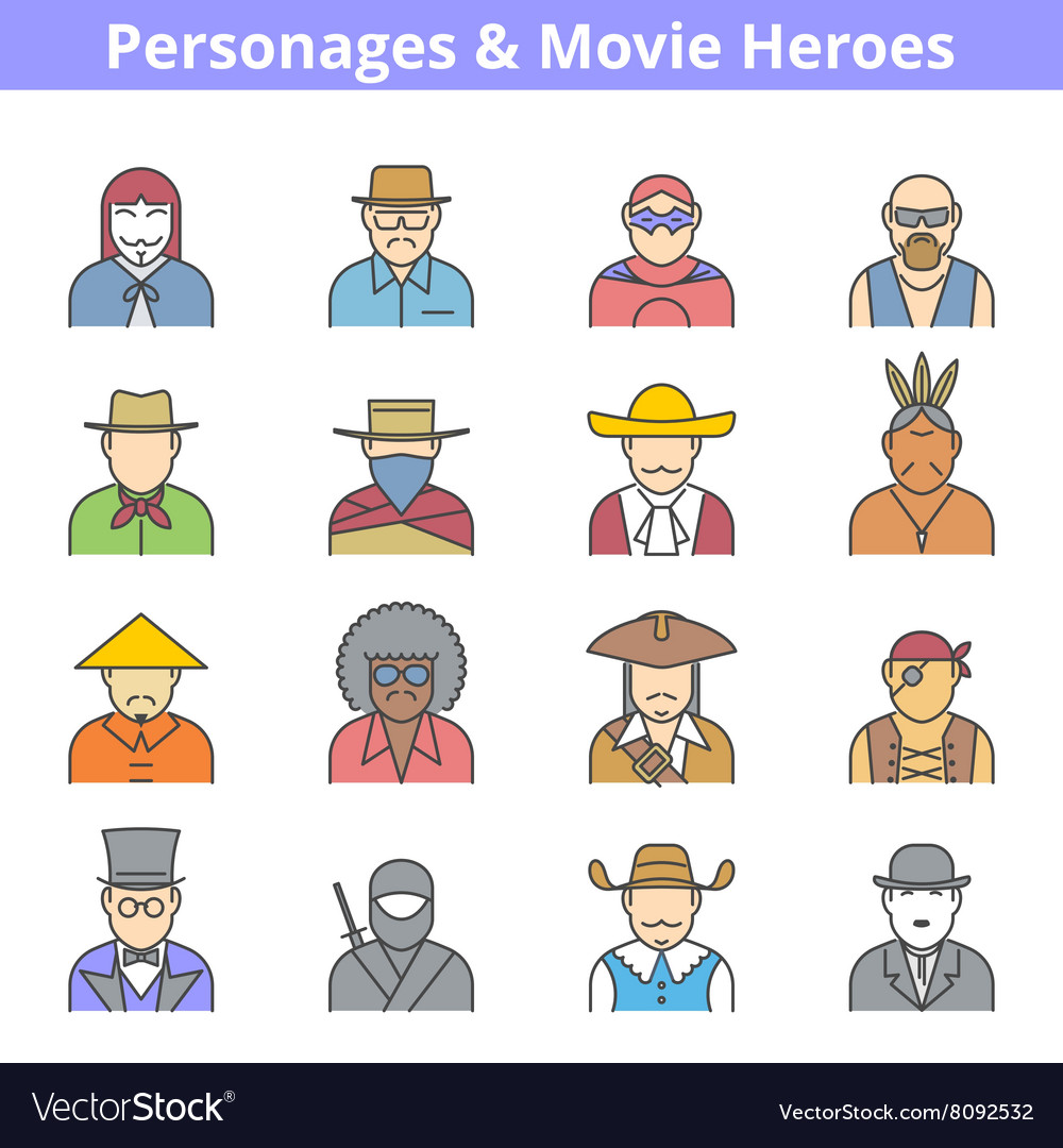 Movie heroes avatar icon set vector
