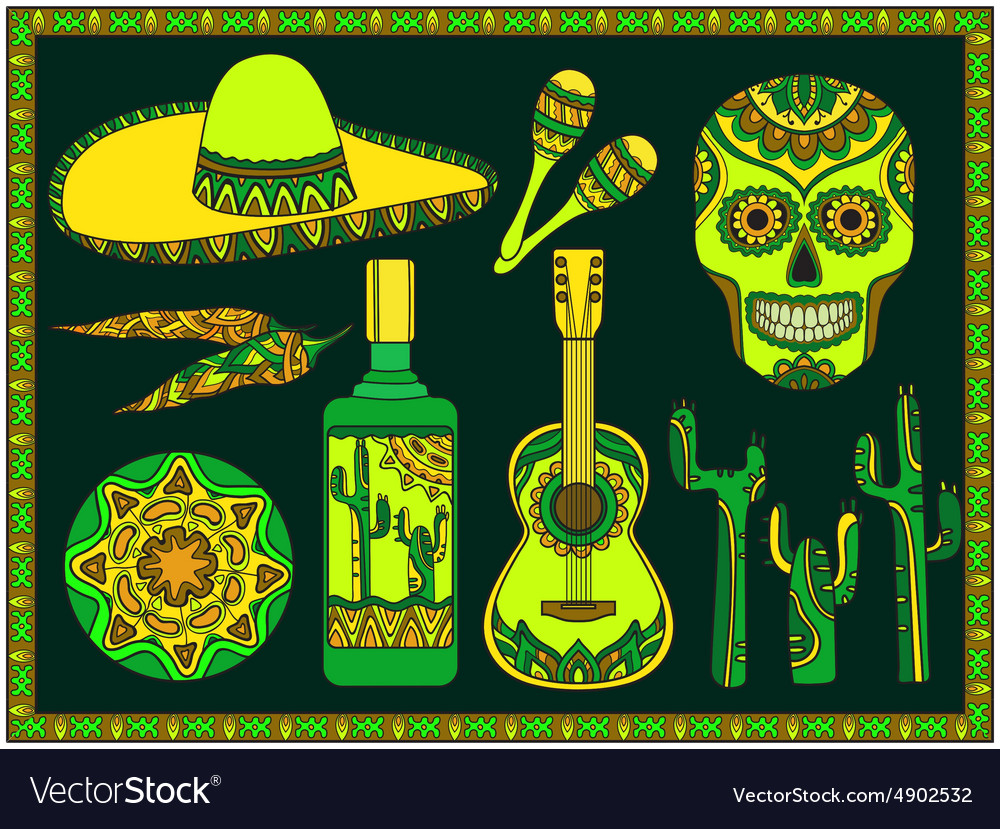 Set traditional mexican symbols vector