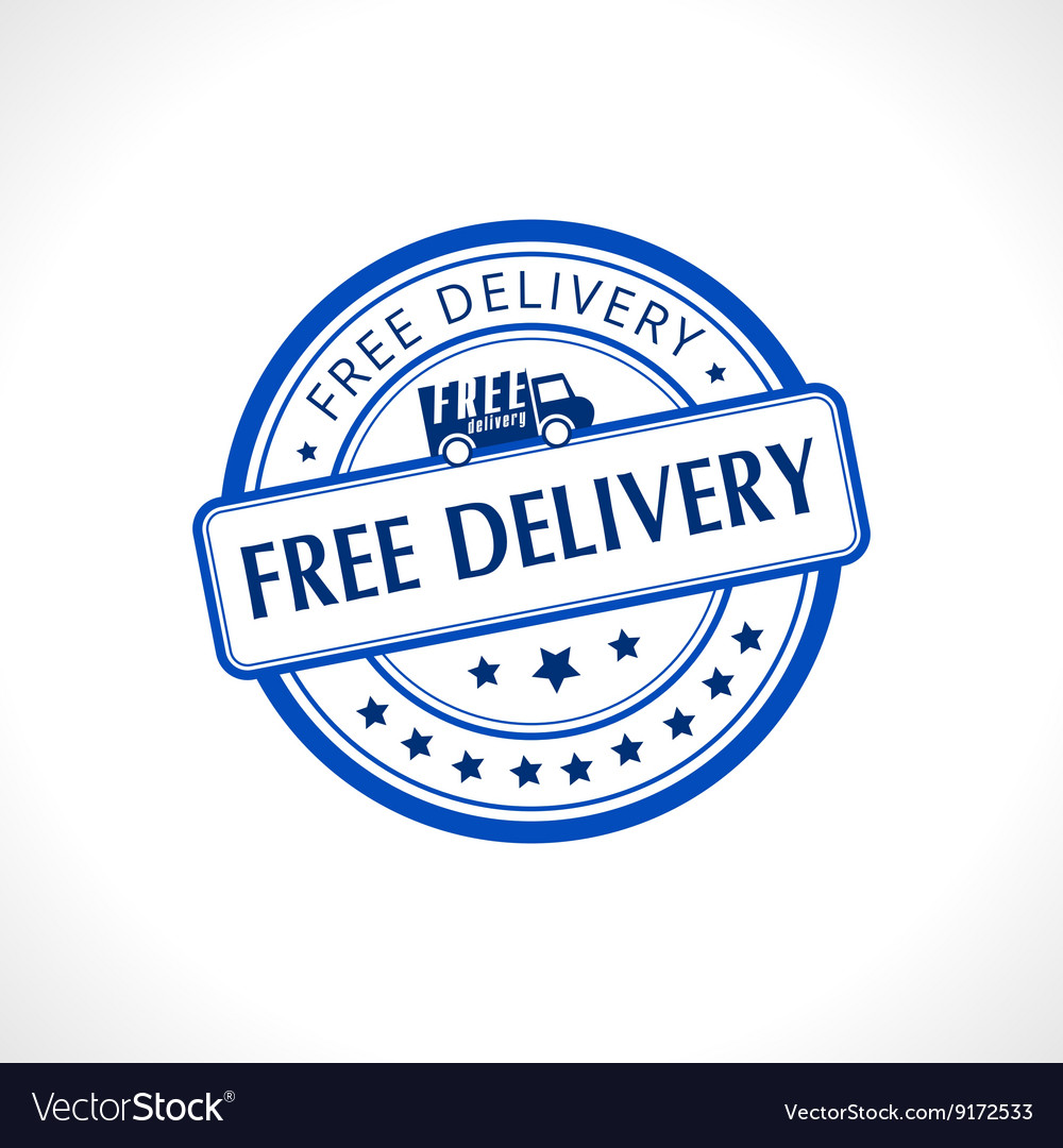 Blue stamp with the text free delivery written vector
