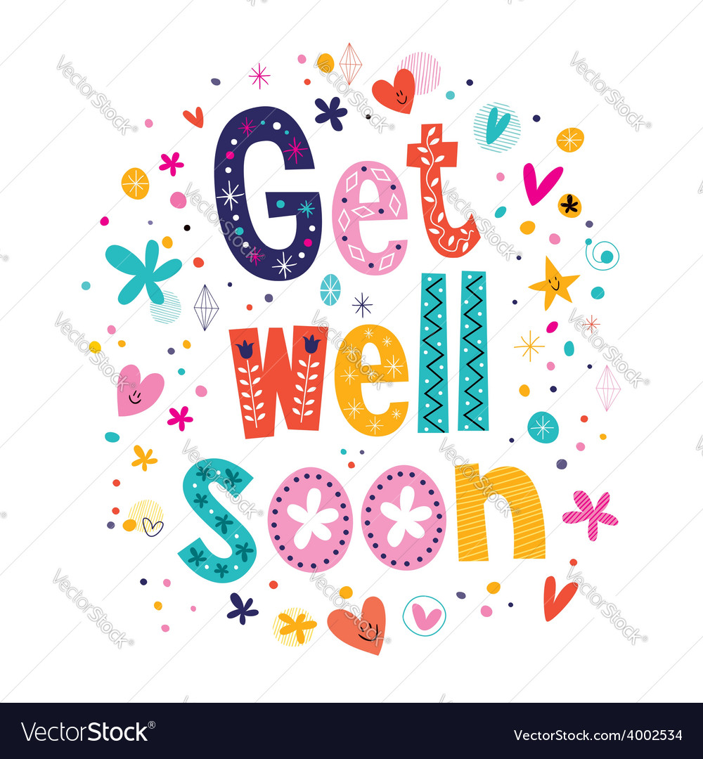 Get well soon greeting card 2 vector