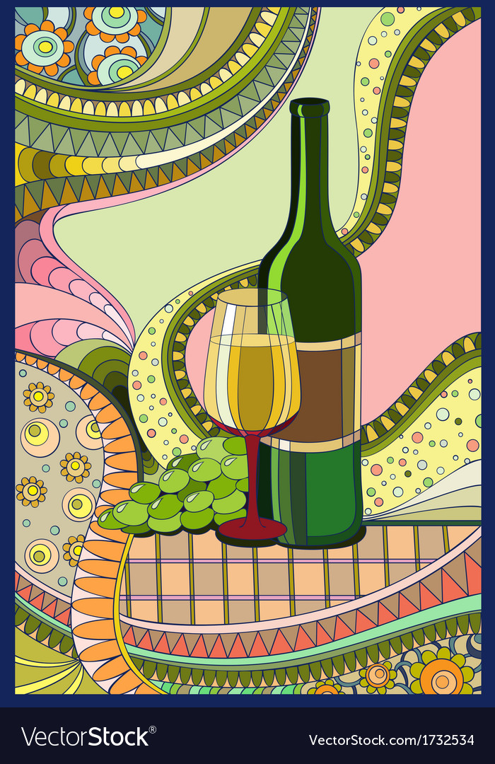 Stainedglass window wine vector