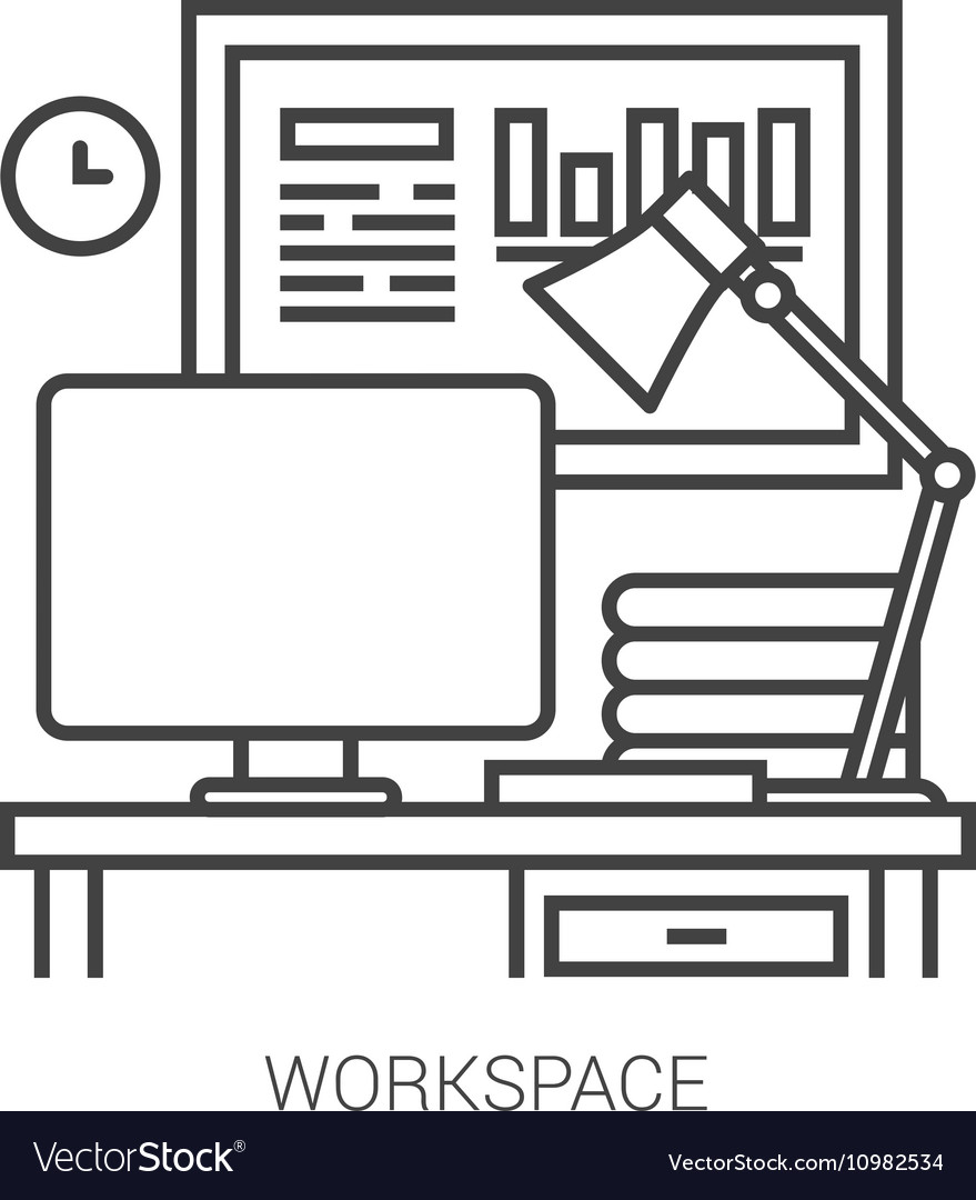 Workplace line infographic vector