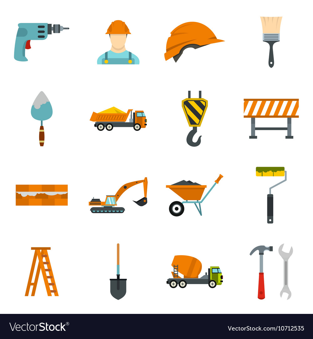 Construction icons set flat style vector
