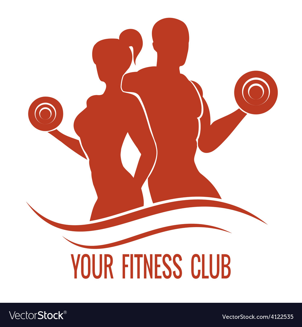 Fitness logo with muscled man and woman vector