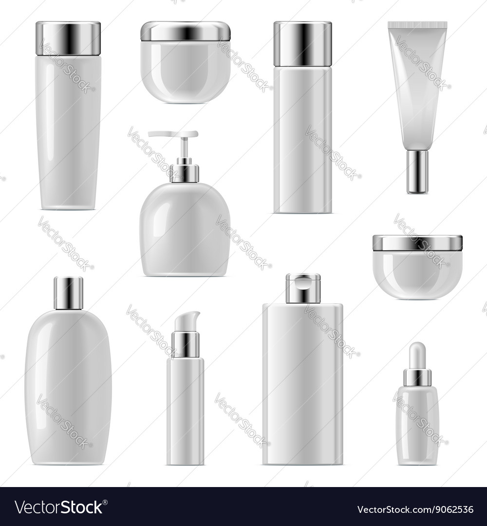 Cosmetic packaging icons set 2 vector