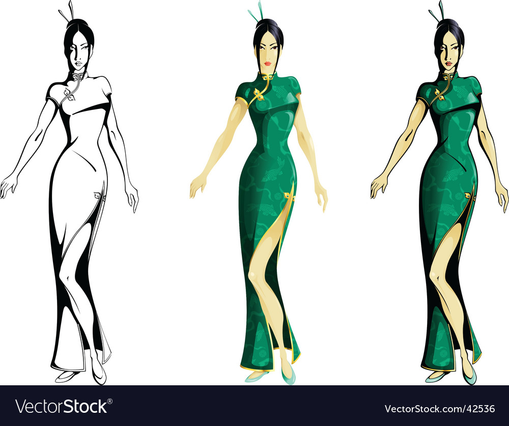 Girl wearing cheongsam vector