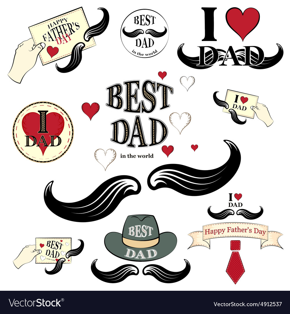 Happy fathers day set vector