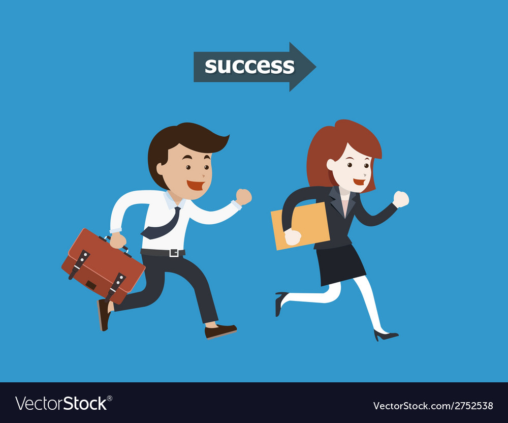 Business people running to success vector