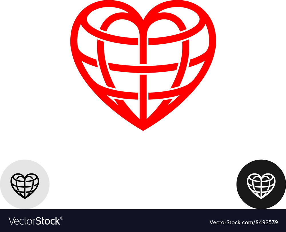 Heart earth globe shape linear weaved logo vector