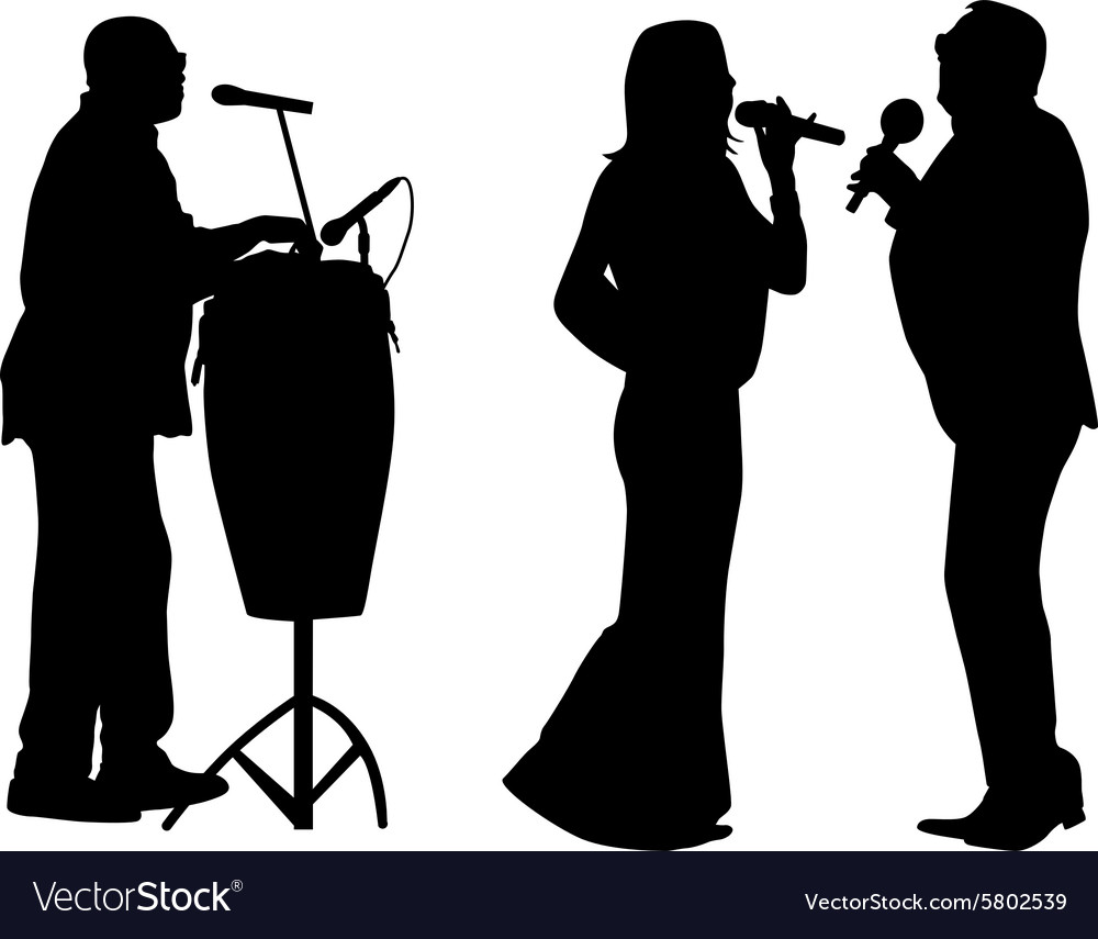 Singer and drummer vector