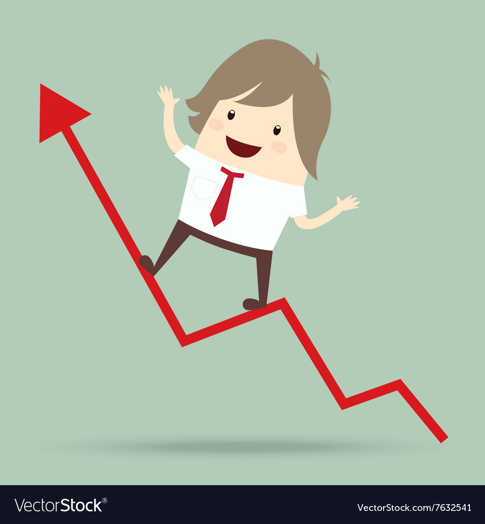 Businessman is happy and running up on red arrow vector