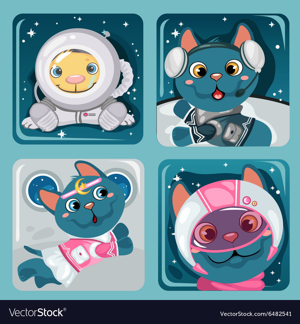 Four images of kitten astronauts cute collection vector