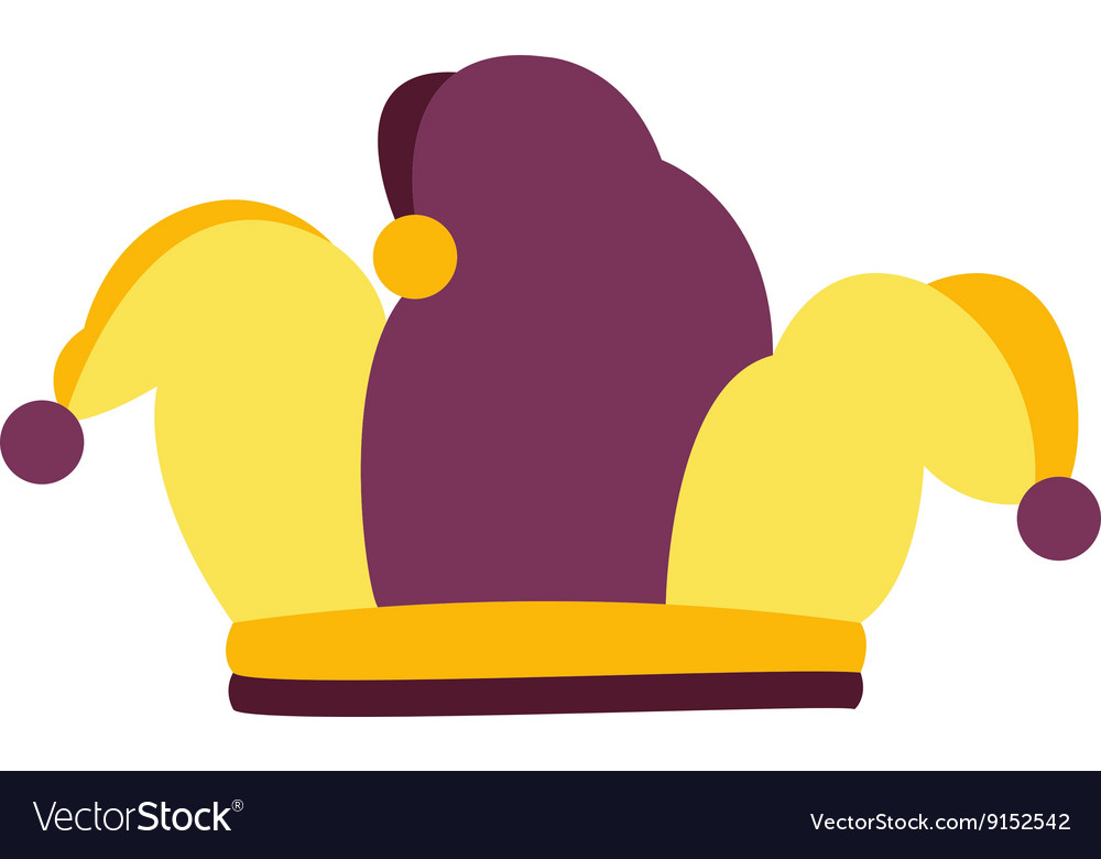 Jester joker colorfull hat with purple pompoms vector