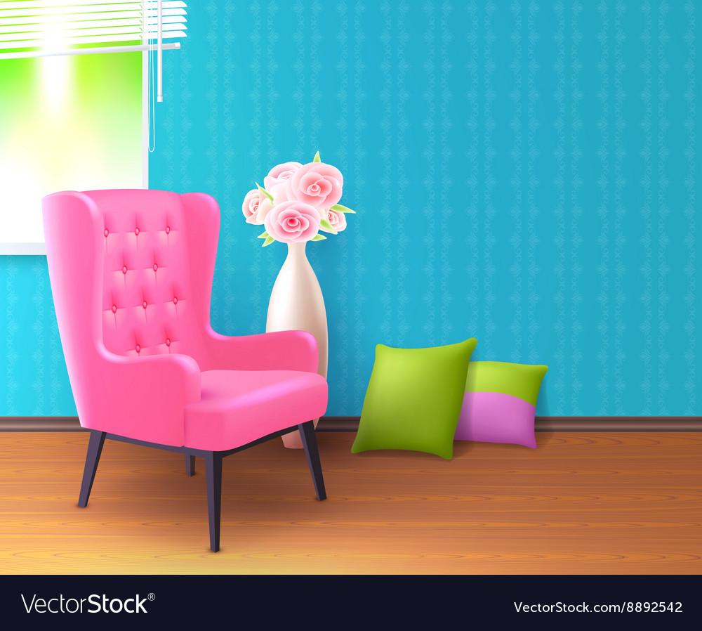 Pink chair realistic interior poster vector
