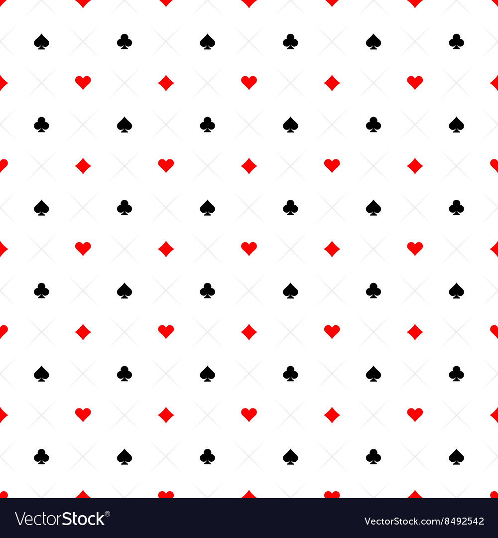 Playing cards signs casino seamless pattern vector