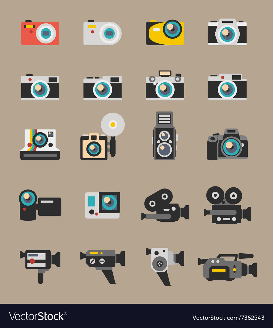 Photo and video camera flat icons vector