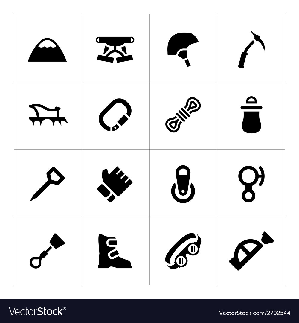 Set icons of mountaineering vector