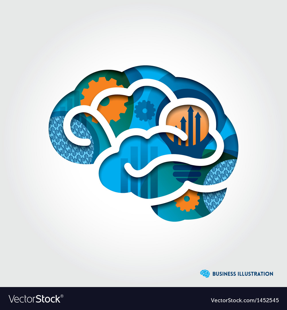 Brain with business concept vector