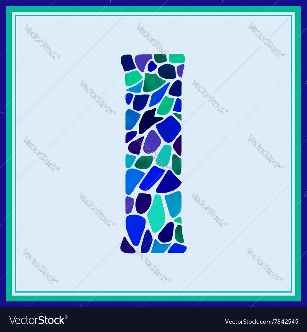 I  letter  green watercolor mosaic vector