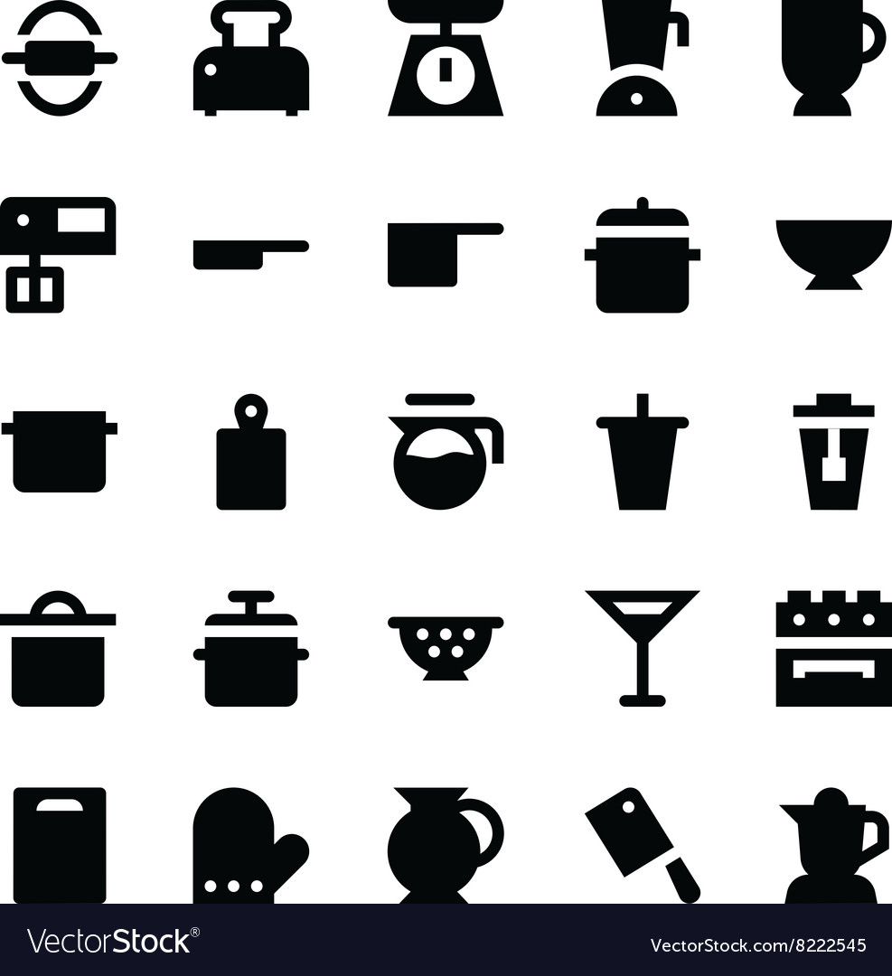 Kitchen utensils icons 4 vector