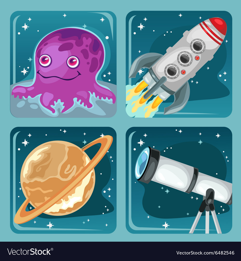 Four cartoon images of space objects vector