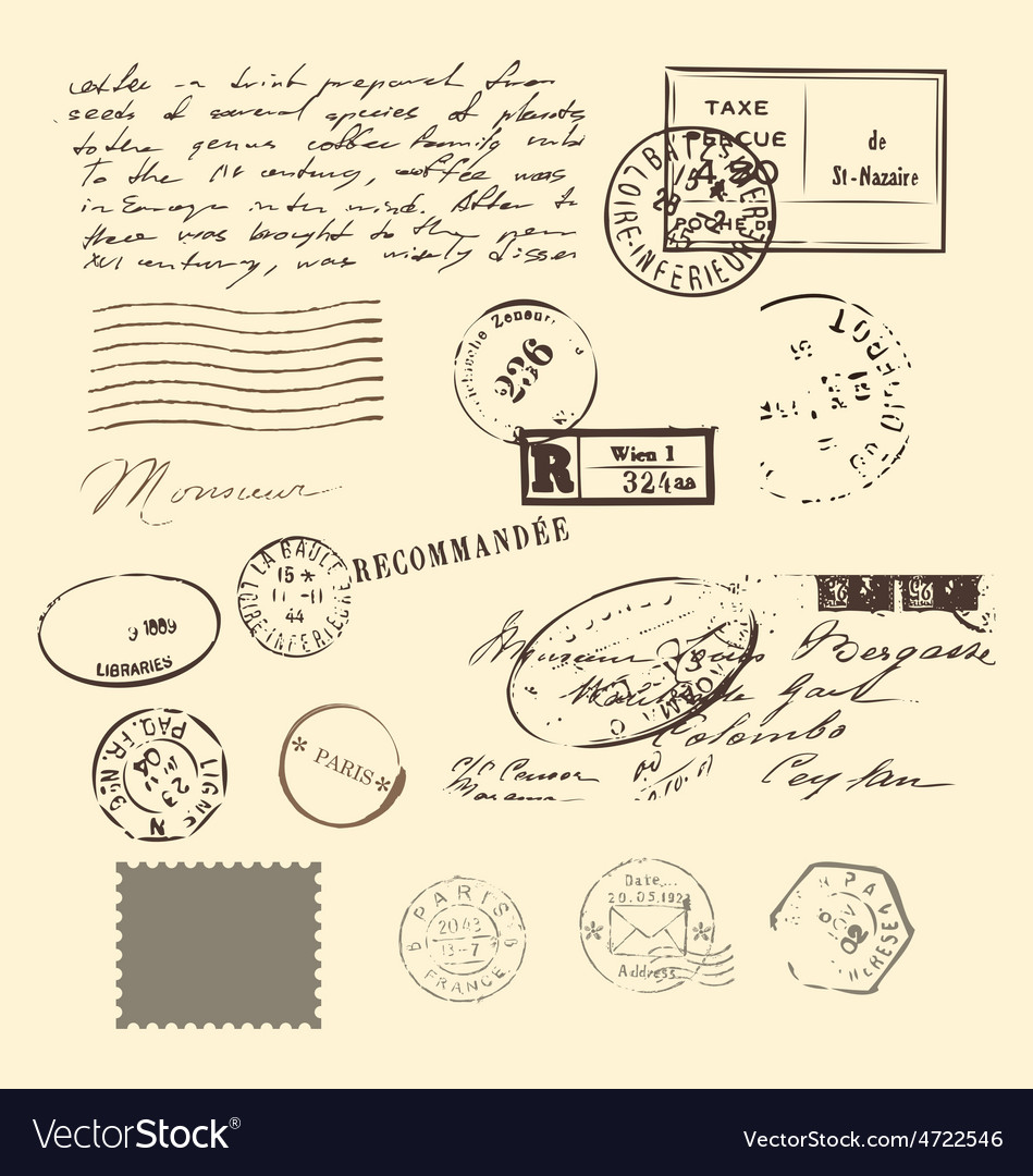 Vintage letter and stamps postage elements vector