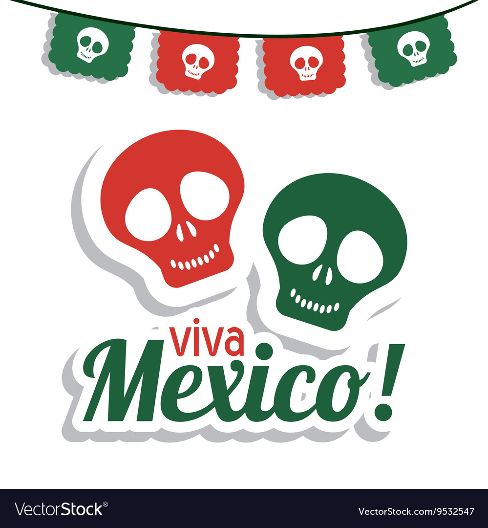 Skull icon mexico culture graphic vector