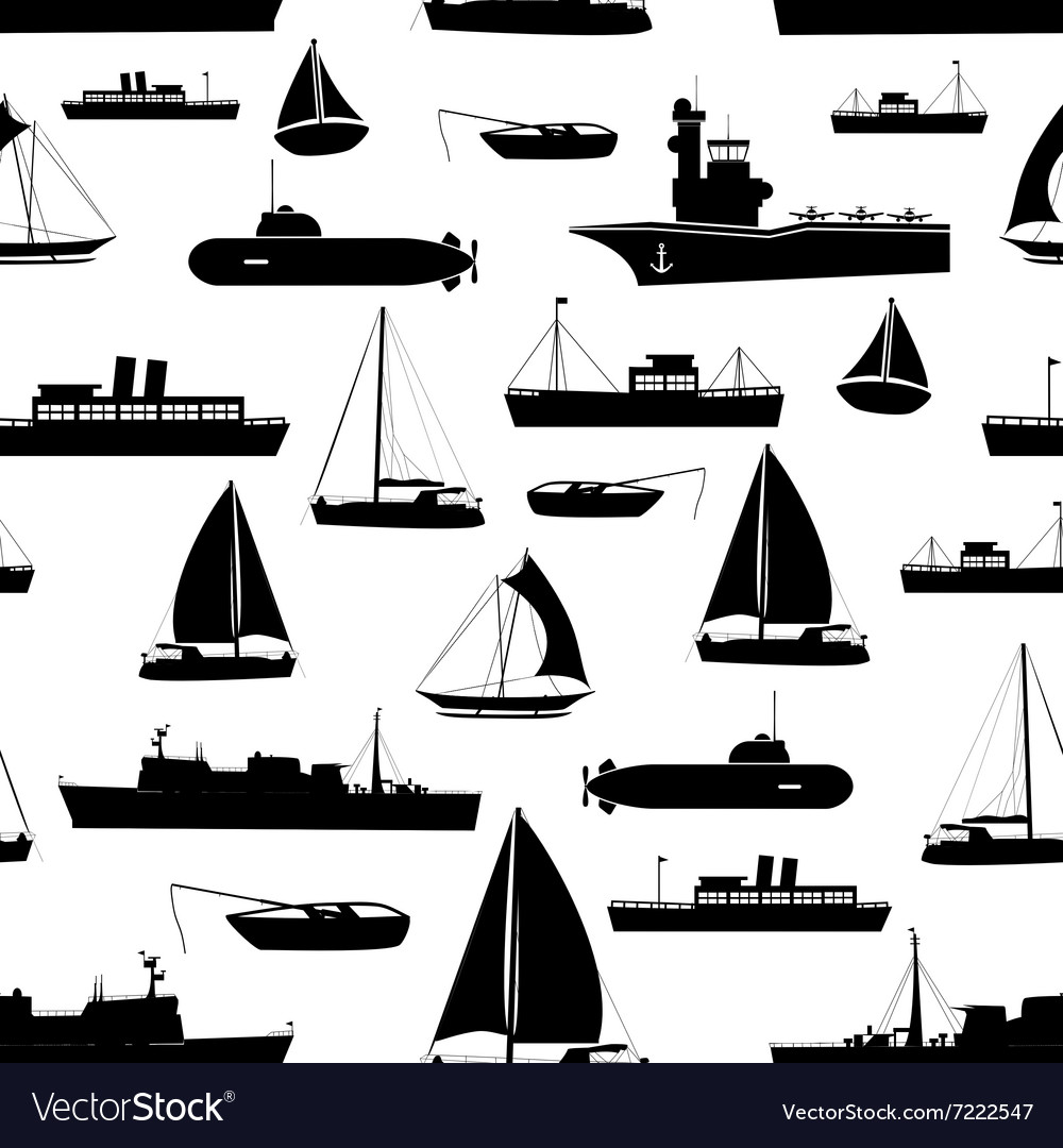 Various transportation navy ships icons seamless vector