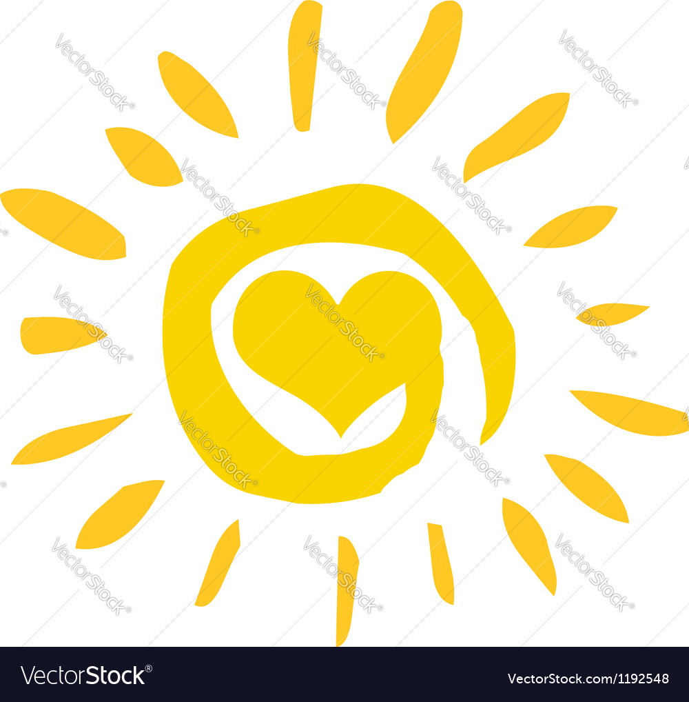 Abstract sun with heart vector