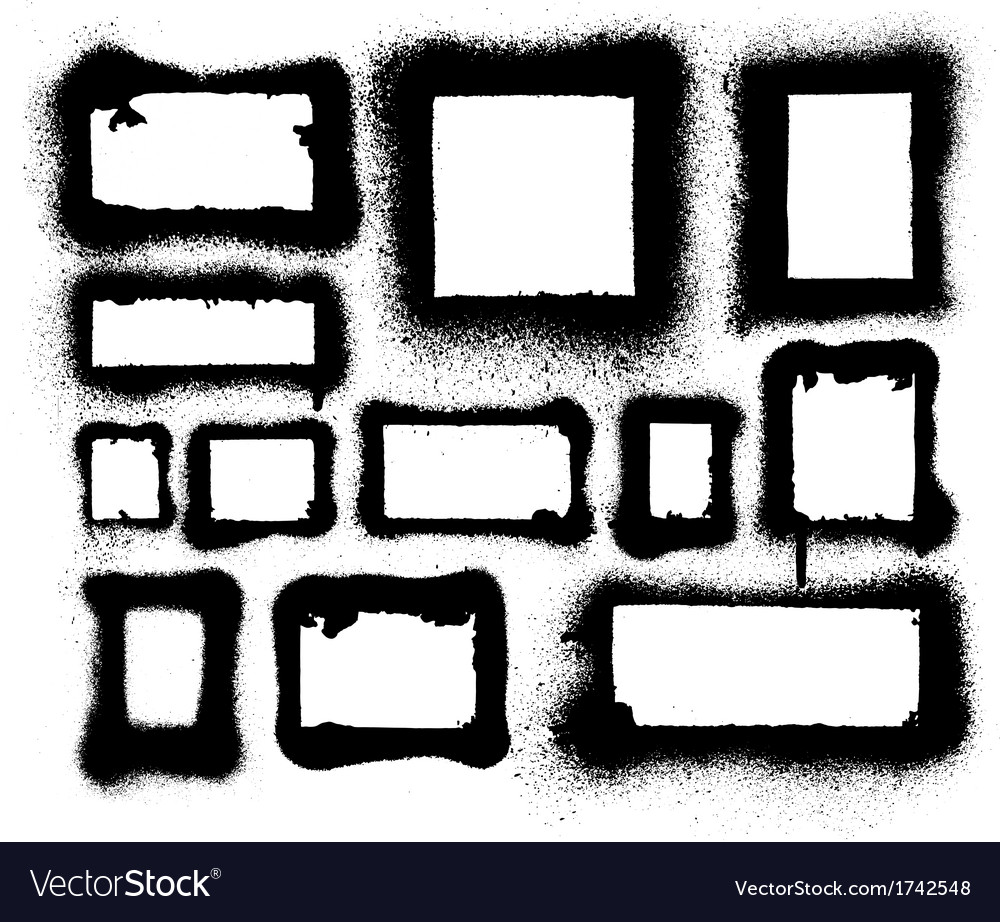 Detailed aerosol spray paint frames and borders vector